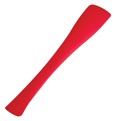 Red switchit silicone spatula that is wide at one end and narrower at the other.
