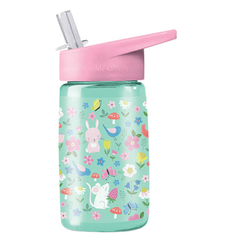Pictured is a 16 oz kids reusable sippy cup with backyard friends pattern. It also has a pink lid with a green straw.
