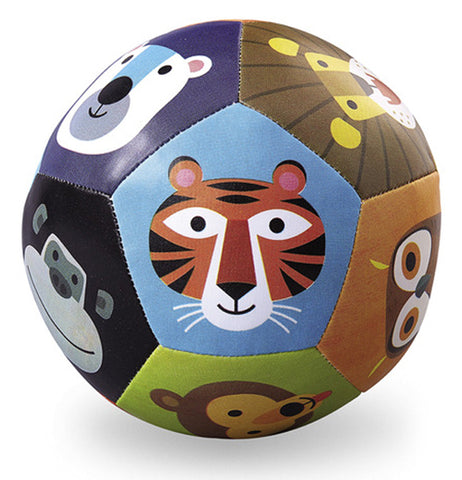 This PVC leather ball features illustrations of different wild animals. On the front against a blue spot is a tiger's face. Below that is a green spot with a brown bear face. An owl's face is against an orange background. A brown spot outlines the mane and face of a lion. A chimpanzee's face sits against a black background while a polar bear's white face is against a dark blue background.