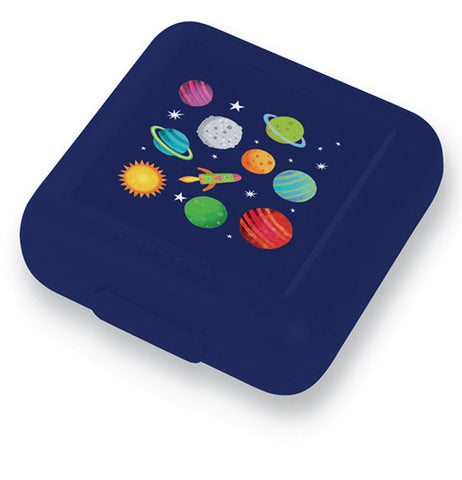 "The ""Solar System"" Sandwich Keeper features a rocket ship, sun, moon, and seven planets over a dark blue background."