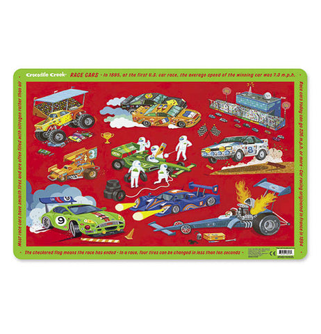 Multi-colored placemat with different styles of race cars pictured on the front.
