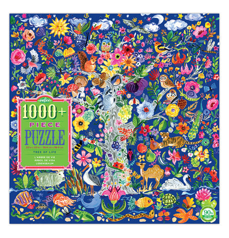 The Front of the Puzzle box that shows various plants and animals with the puzzle label that says 1000 piece puzzle.