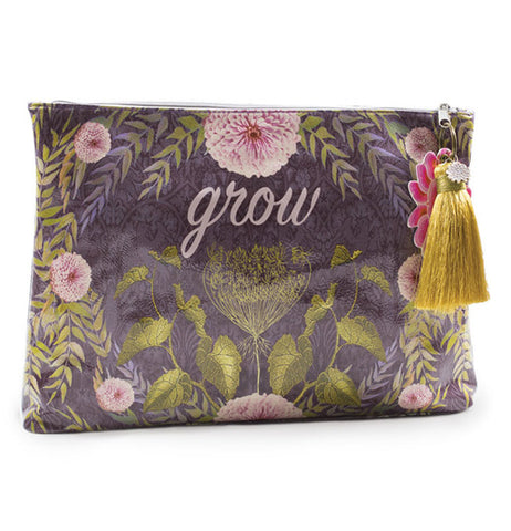 Floral pattern grey damask clutch with yellow tassel.