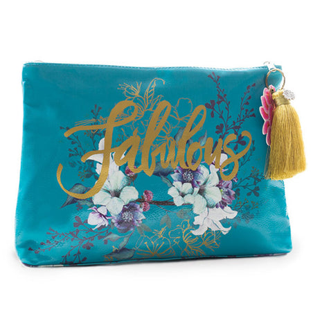 Teal pouch with beautiful flowers and gold tassel says fabulous.