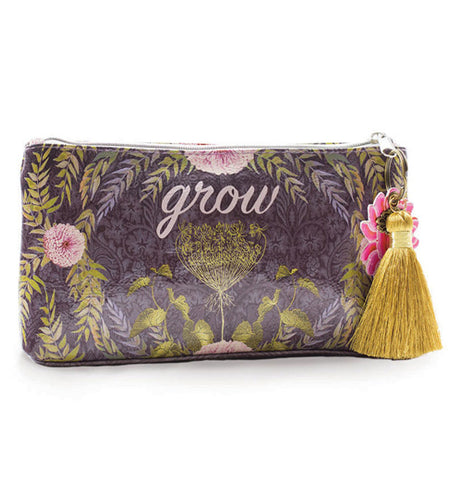 Hand bag that has plants, flowers, and a grey background color.