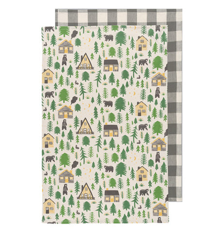 A set of tea towels one with a white and gray gingham pattern. The other a forest theme with pine trees, bears, and cabins