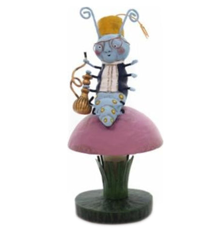 A light blue caterpillar in black coat and white shirt wearing a hat and glasses sitting on a toadstool holding a gold hookah.