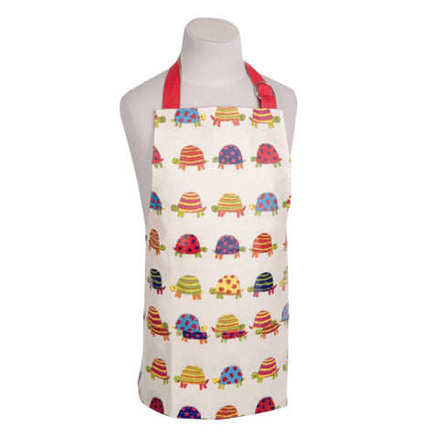 White apron with a pastel colored Tortoise themed design