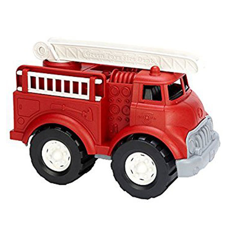 Red and grey fire Truck with black and white tires