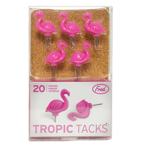 "Five of the Tropic ""Flamingo"" Thumb Tacks are packaged."