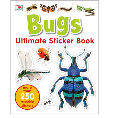 the cover of a bug themed sticker book featuring various insects including butterflies, dragonflies, and beetles