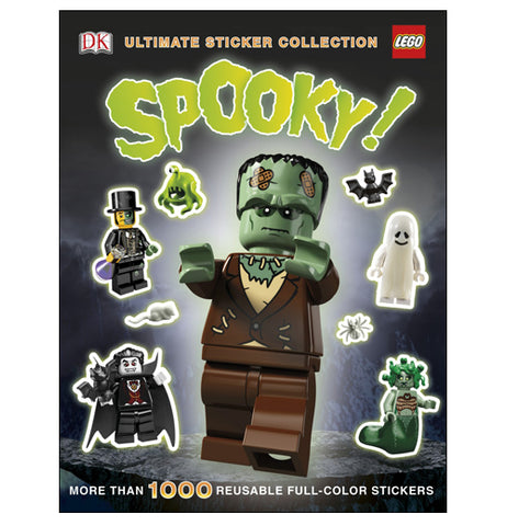 A book full of Halloween related lego stickers such as Frankenstein, medusa, and a vampire