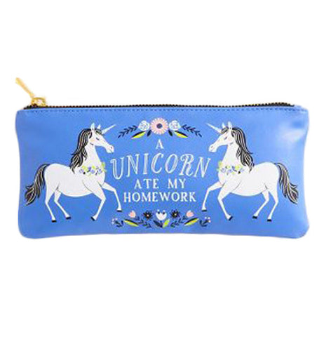 "Blue pouch with the words ""A unicorn ate my homework"" surrounded by 2 unicorns and flowers."