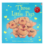 "This scholastic blue colored storybook ""Three Little Pigs"" shows three little pigs frightened."