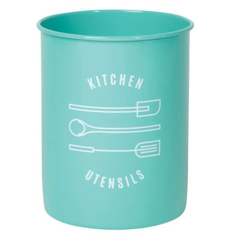 "The Powder-Coated Utensil Crock has turquoise color with the message  that says ""kitchen utensils"""