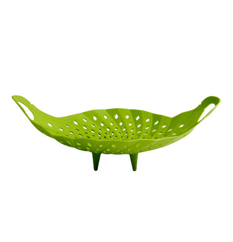 This Veggie steamer is green with handles and cone shaped legs to easily place inside cooking pot