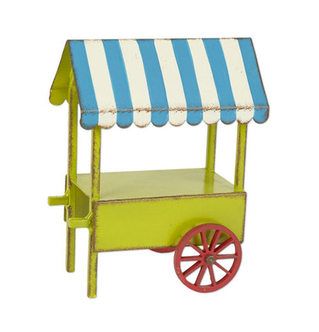 The Miniature vendor cart is green with a blue and white top and red wheels.