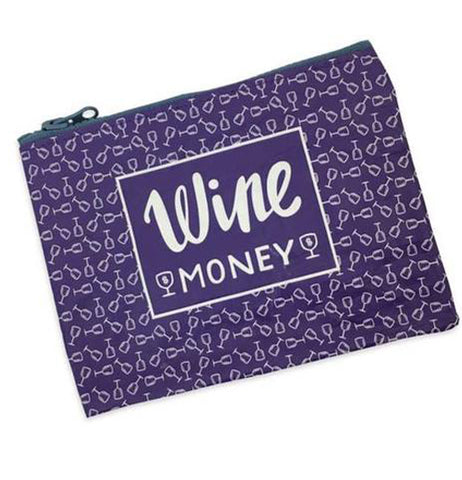 "The back of the purple coin purse is shown with small wine glasses tipping over. A purple sign with the words, ""Wine Money"" in white lettering."