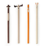 Set of 4 different woodland animal pencils.