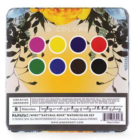 Bottom of watercolor set tin box with images showing the colors. Featuring a sun and plant design.