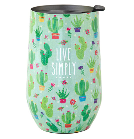 "This insulated steel green wine tumbler decorated with cactus and flowers. It says ""Live Simply"" in thin white lettering."