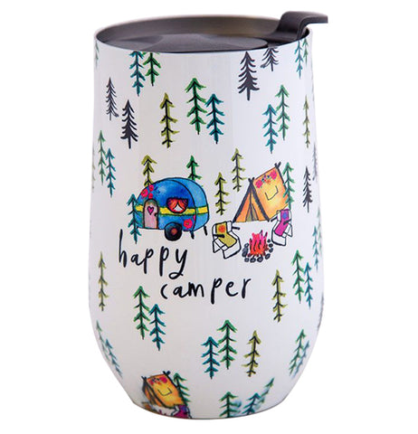 "This white cup features a design of a camping trailer, tent, chairs, and a campfire surrounded by pine trees. Below the trailer are the words, ""Happy Camper"" in black lettering."