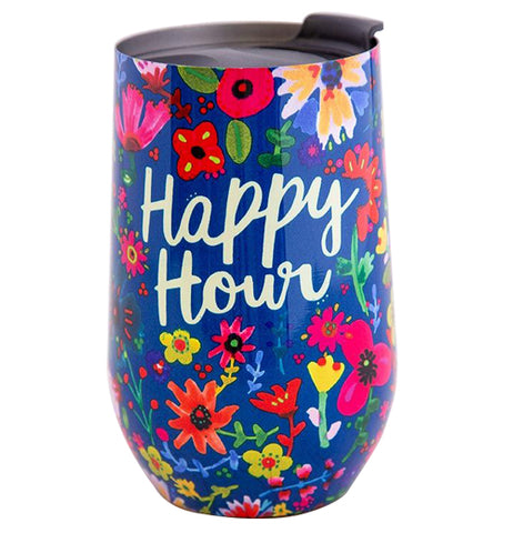 "This blue cup sports a design of orange, red, pink, and yellow flowers surrounding the words, ""Happy Hour"" in white lettering."