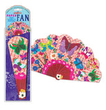 The butterfly fan is packaged with the other one already opened with its different colored butterflies displayed.