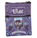 "Purple canvas zipper wallet with white writing that says ""Wine Money"" on one side and ""Wine Money, In Wine We Trust"" in a dollar bill design on the other on a white background."