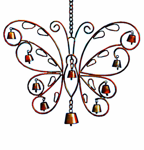 "This hanging ornament, the Filigree Windchime ""Butterfly"" is golden and made of steel."