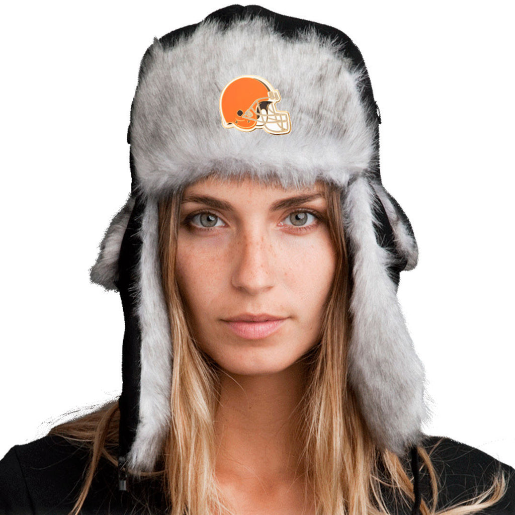 Trapper Hat + Cleveland Browns Pin ($8 value)