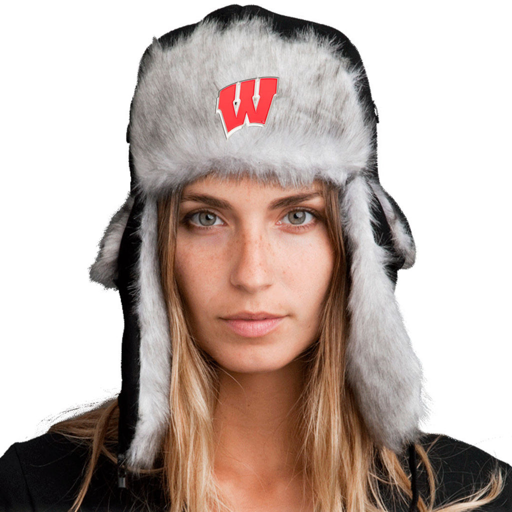 Trapper Hat + FREE Wisconsin Badgers Pin  ($8 value!)
