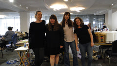 Left to right, Lauren Zavala, Mary Perisho, Bianca Howell and Kelly Crowley at the Owl & Drum's Urban Sew & Quilt-In.