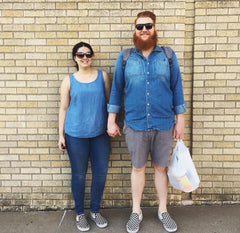 Ashley and Ryan Daly sporting cotton chambray