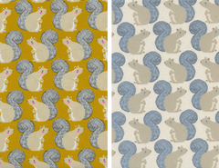 squirrels by sarah watts magic garden for cotton + steel fabrics