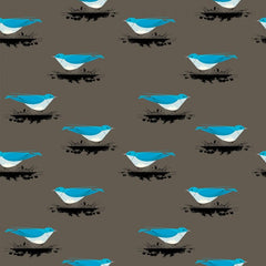 charley harper mountain blue bird western birds birch fabrics 100% organic cotton