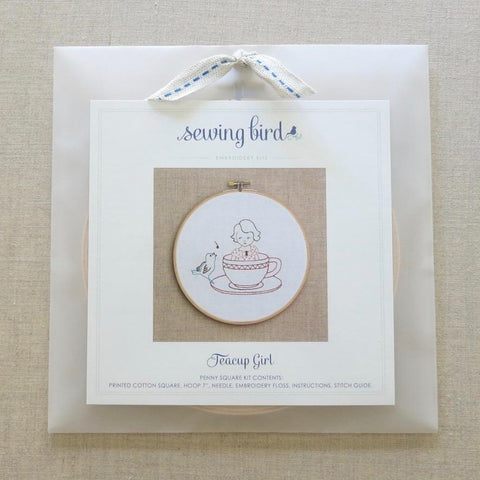 Sewing Bird Teacup Girl Embroidery Kit