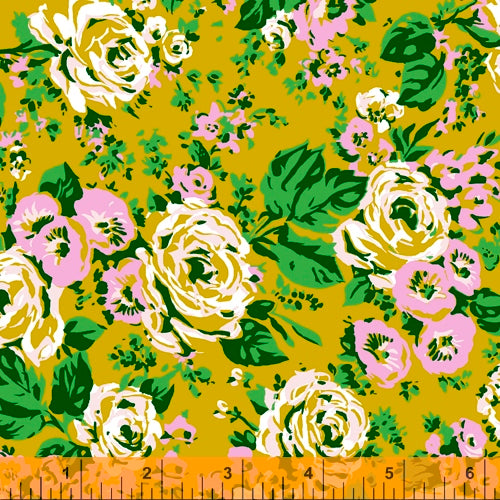 Bright Big Rose in Olive by Annabel Wrigley