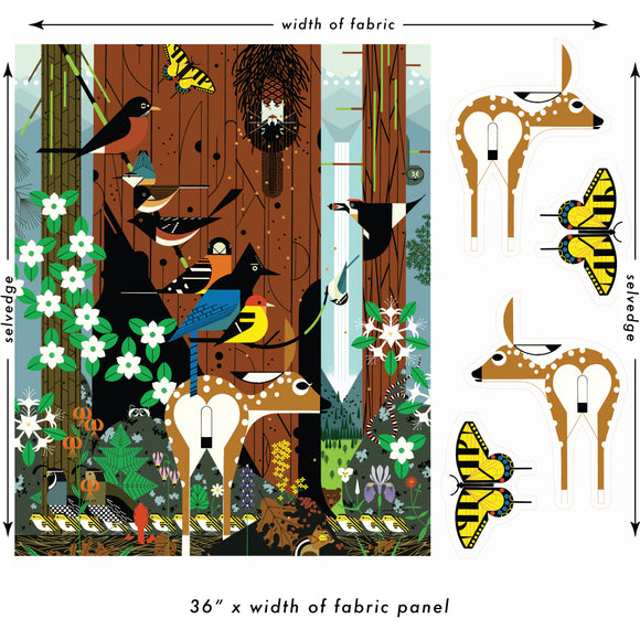 Sierra Range Panel and Stuffies - Charley Harper Sierra Range