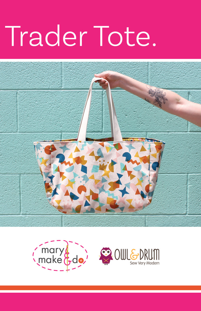 The Trader Tote by Mary Make & Do PDF Sewing Pattern - Owl & Drum