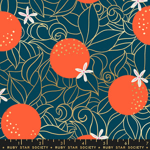 Orange Blossoms in Peacock by Sarah Watts