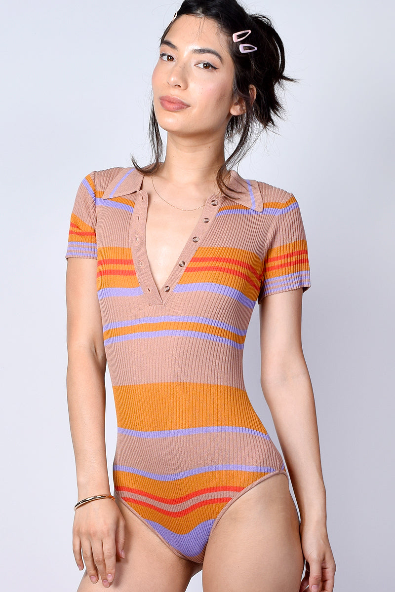 Go Your Own Way Striped Bodysuit