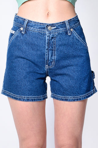 90s Time Denim Carpenter Shorts - Blue