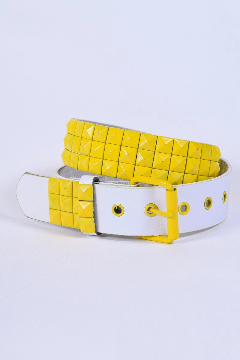 ECH Vintage Yellow Studded Belt