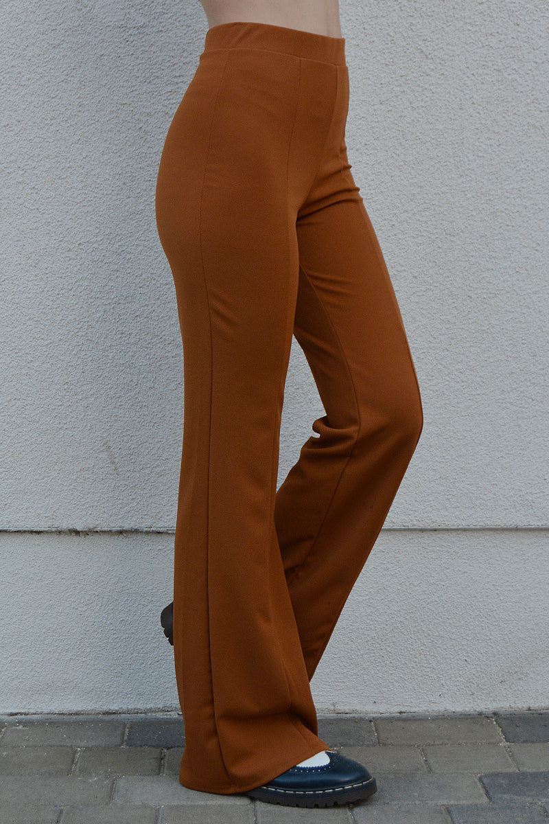 Stop Whispering Cognac Flare Pants