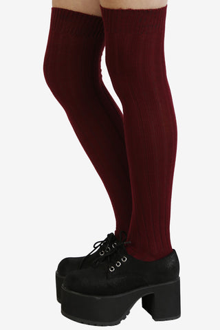 Ribbed Knit Thigh High Socks - Burgundy