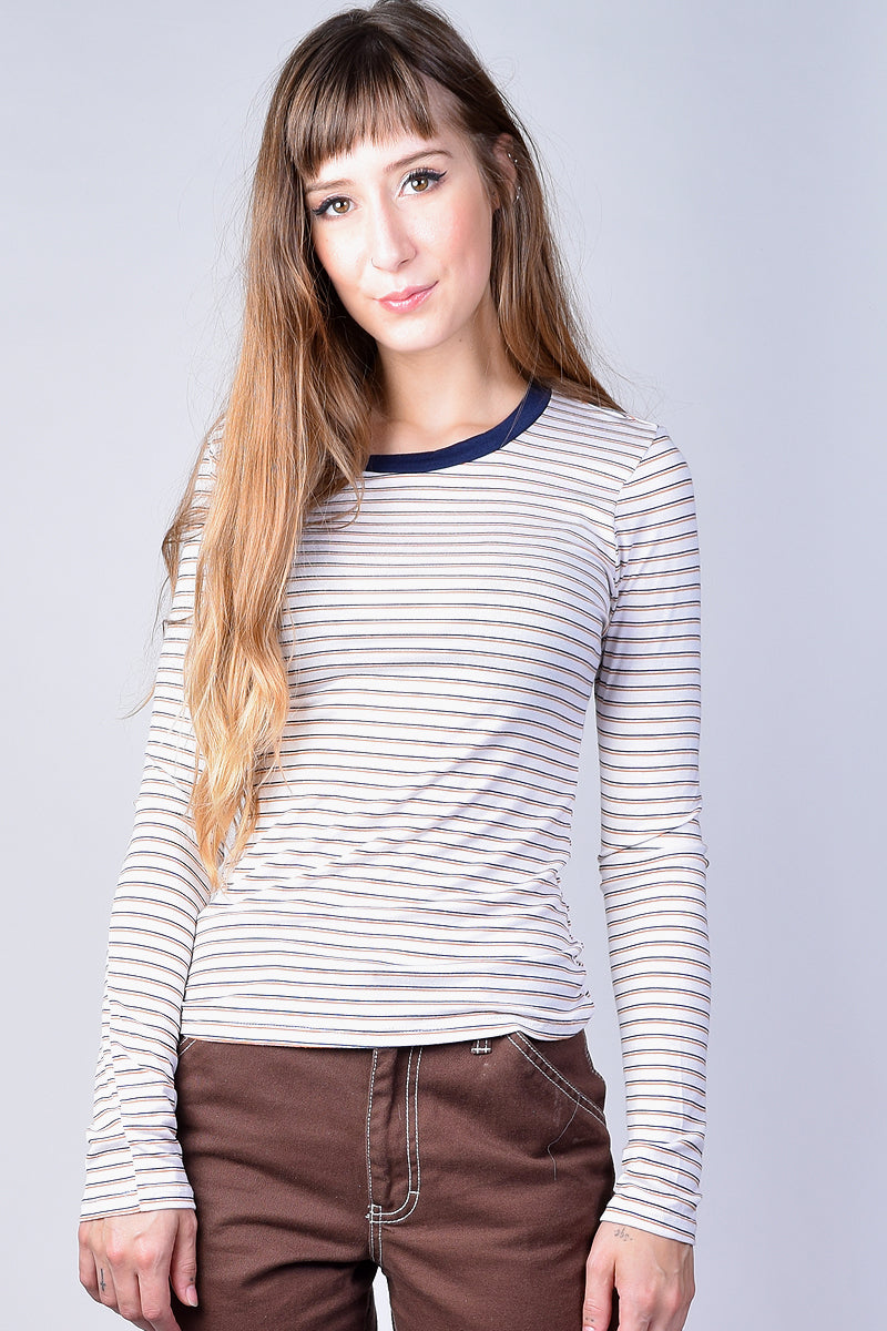 Cara Long Sleeve Striped Ringer