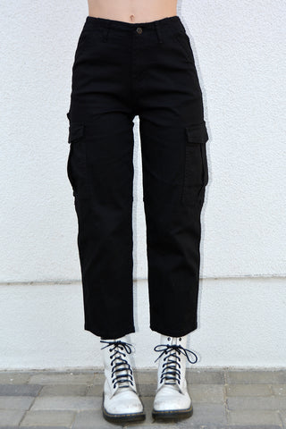 Sour Girl Cropped Cargo Pants - Black