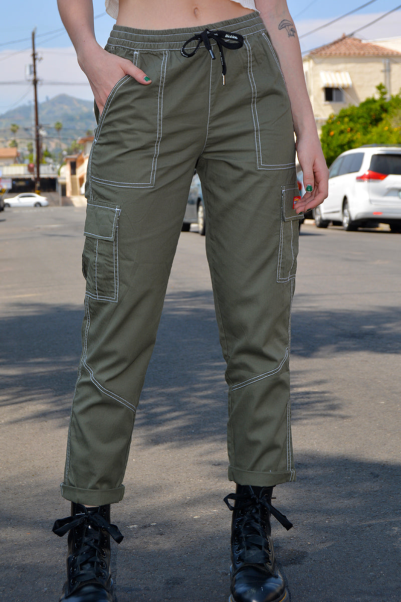 Olive Cropped Cargo Pants by Dickies Girl