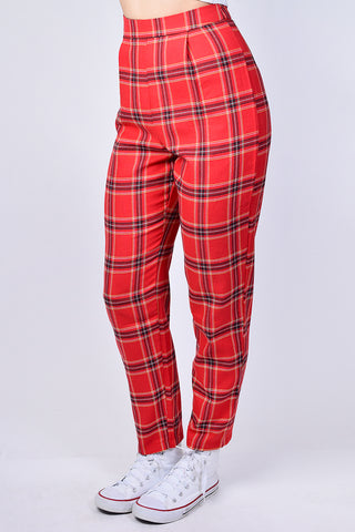Ceray Tapered Plaid Trouser
